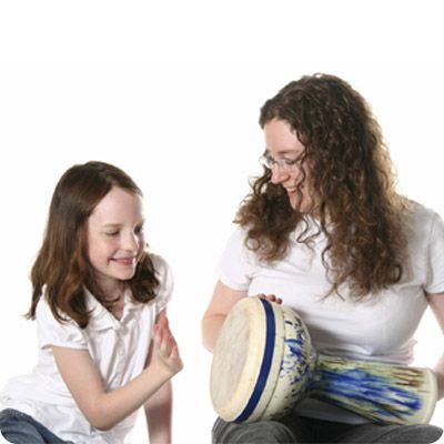 teacher and student drumming